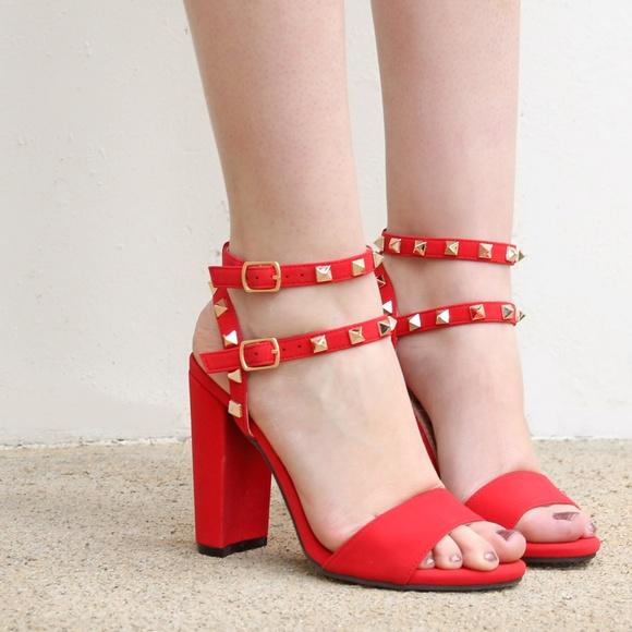 0962d1a84997 Becca-05 Square Studs Details Women s Block Heels